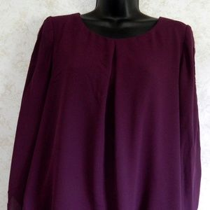 7c1b6732f2e053 new directions Tops - Ladies New Directions Purple Blouse Top Lined Med